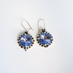 Boucles d'oreilles bleues / violettes et argent