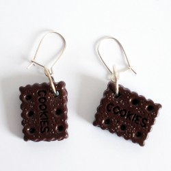 Boucles d'oreille biscuits ou cookies au chocolat