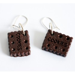 Boucles d'oreilles biscuits ou cookies au chocolat