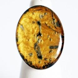 Grande bague ajustable dorée et argentée en peinture et résine