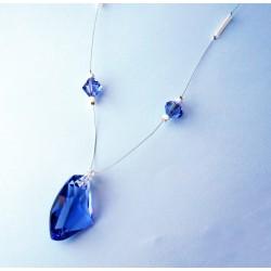 """Collier violet """"tanzanite"""" en perles de cristal"""