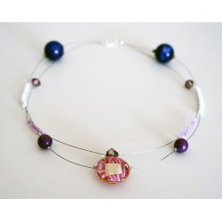 Collier rose, violet et...