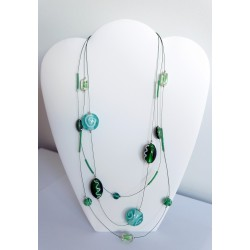Collier 3 rangs vert en perles de verre