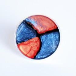 Grande bague bleue et orange en peinture et résine