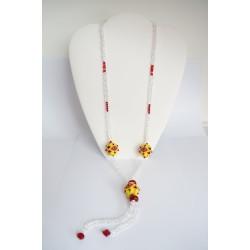 Sautoir jaune, rouge et transparent. Perles tissées faites main