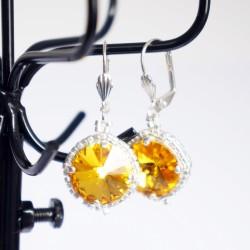Boucles d'oreilles fantaisie jaunes et argentées en cristal de Swarovski et délicas