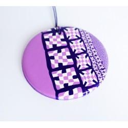 Grand pendentif rose, violet et blanc en pâte Fimo