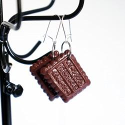 Boucles d'oreilles gourmandes biscuits au chocolat