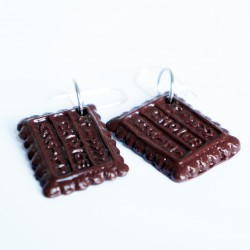 Boucles d'oreilles gourmandes biscuits au chocolat