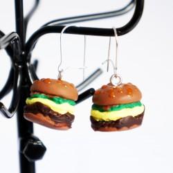 Boucles d'oreilles gourmandes hamburgers