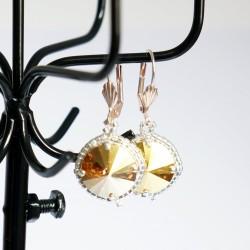 Boucles d'oreilles fantaisie dorées / jaunes et argentées en cristal de Swarovski et délicas