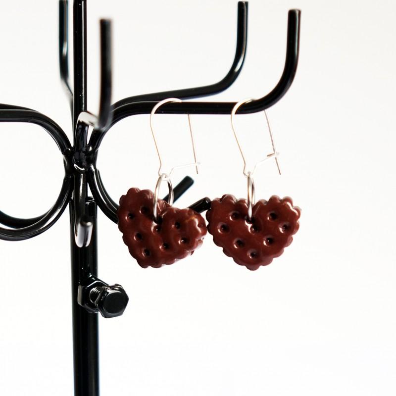 """Boucles d'oreilles gourmandes biscuits """"coeur"""" au chocolat"""
