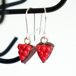 "Earings handmade \""chocolate cake with cherries topping\\"""