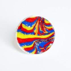 Bague multicolore (bleu, jaune et rouge) avec des paillettes argentées