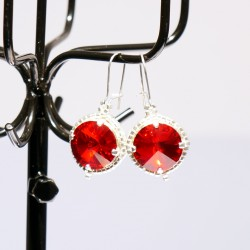 Red earings handmade with...