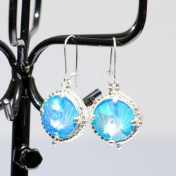 Blue earings handmade with crystal beads (Swarovski) and delicas