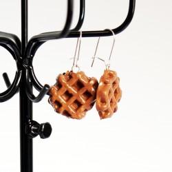 Boucles d'oreilles gourmandes en gaufres de Liège