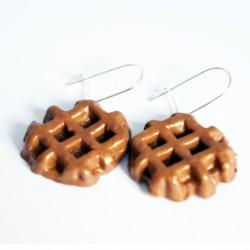 "Handmade Earrings \\""Belgium Waffle\\"""