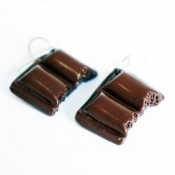 Boucles d'oreilles gourmandes carreaux de chocolat