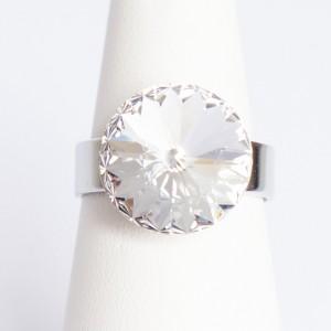 "Bague imitation \\""diamant\\"" en cristal de Swarovski"