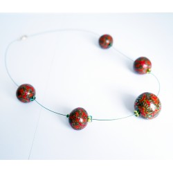 Red and Green Necklace - handmade beads