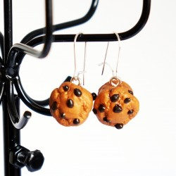 Boucles d'oreilles gourmandes muffins aux pépites de chocolat