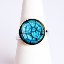 Small Blue Ring made with paint and resin