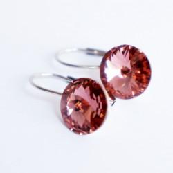 Petites boucles d'oreilles roses en cristal