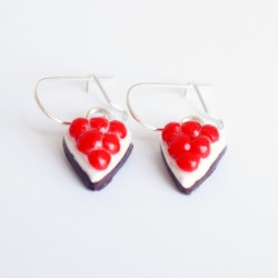 Handmade chocolat and cherries pie earrings