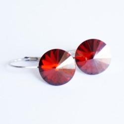 Petites boucles d'oreilles rouges en cristal