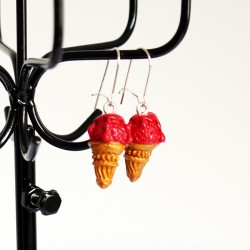 Strawberry ice cream cone earrings