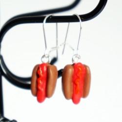 Boucles d'oreilles hotdogs