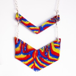Long hippie necklace yellow, red and blue