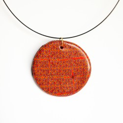 Grand pendentif rond orange