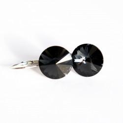 """Petites boucles d'oreilles grises """"graphite"""" en cristal"""