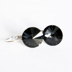 """Petites boucles d'oreilles grises \\""""graphite\\"""" en cristal"""