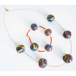 Parure collier et bracelet multicolore entièrement fait à la main