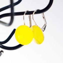 """Boucles d'oreilles jaunes \\""""yellow opal\\"""" en cristal"""