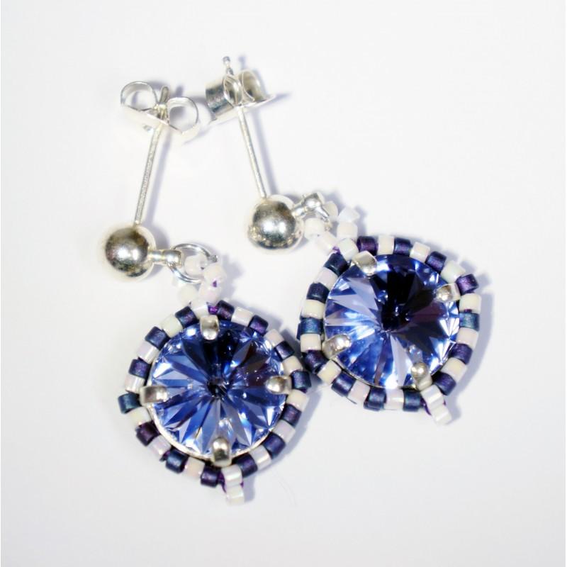 Boucles d'oreilles rondes bleues et blanches