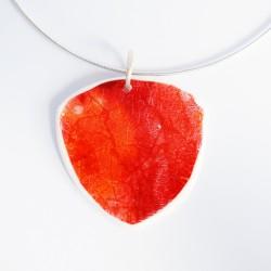 Large triangular red/orange pendant with metallic shimmer