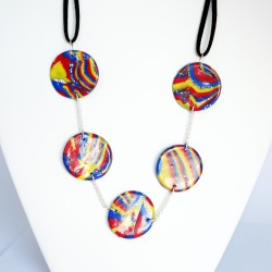 Multicolored necklace with flat, colorful, handmade flat pearls