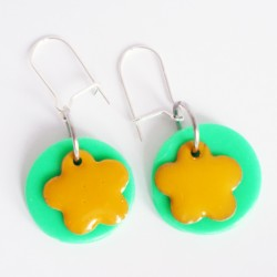 Green and yellow earrings