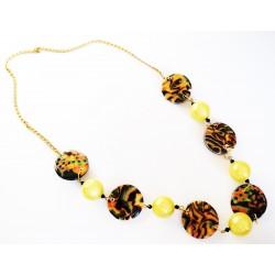 Collier long ou sautoir jaune, noir et orange avec perles fait-main