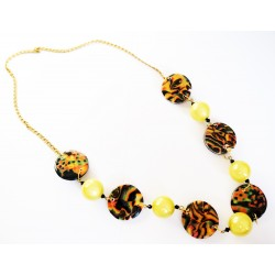Long necklace or yellow, black and orange necklace with handmade pearls.