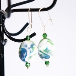 Green and white drop earrings