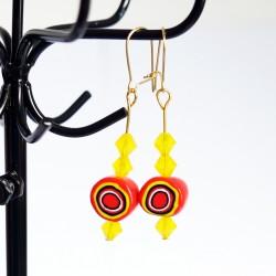 """Boucles d'oreilles """"cibles"""" jaune et orange"""