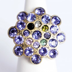 Purple and multicolor adjustable ring with Swarovski crystal