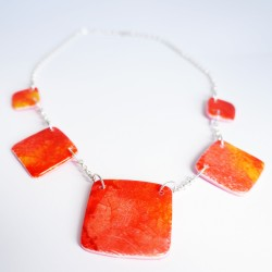 Orange-and-yellow polymer clay necklace