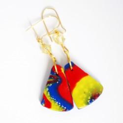 Boucles d'oreilles triangulaires multicolores