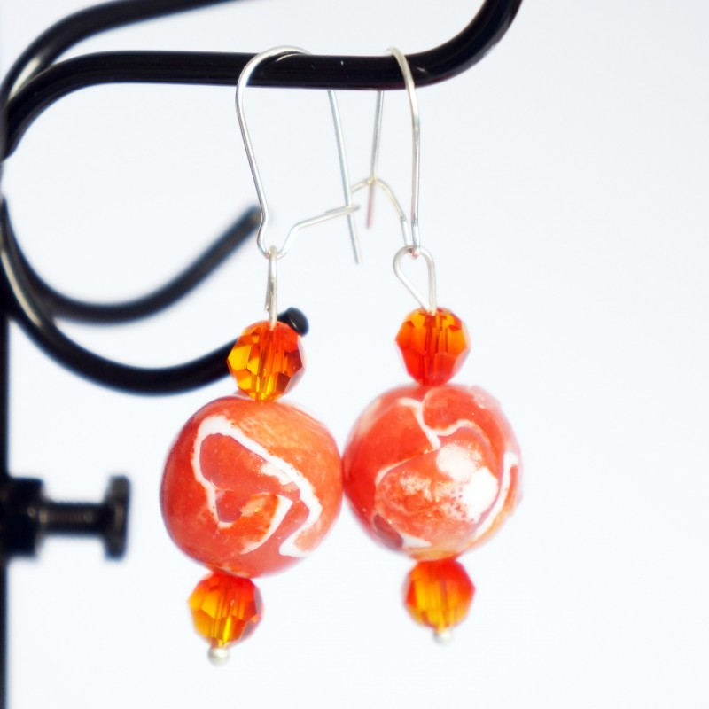 Boucles d'oreilles pendantes oranges